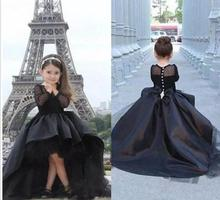 vestido infantil festa 2018 Little Girls Pageant Black lace High Low Teens Formal Holy Communion Dresses Flower Girl