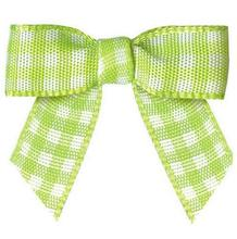 600pcs Pre tie Tartan Bows 3 8 Small Green and white Plaid Bows for Garment Accessories