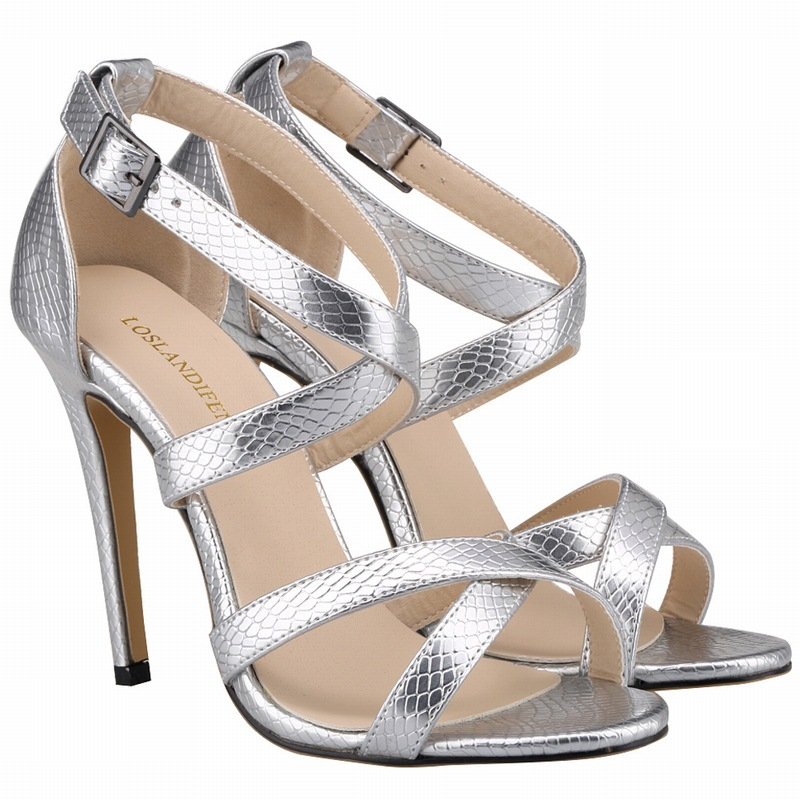 Size 35 42 Sandals Women Black And White High Heel Open Toe Shoes Snake Sandal 2016 New Fashion Summer Shoes