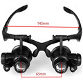 New 9892GJ 10X 15X 20X 25X LED Magnifier Double Eye Glasses Loupe Lens Jeweler Watch Repair Measurement with 2 LED Lights Tools