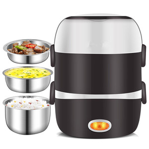 220V Mini Electric Rice Cooker 2/3 Layers Available Steamer Stainless Steel Inner Portable Meal Thermal Heating Lunch Box