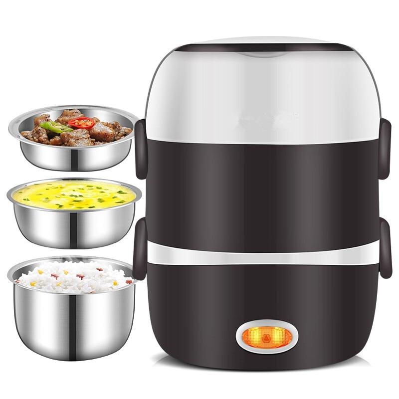 Mini fornello di riso elettrico 220V 2/3 strati disponibili Steamer scatola da pranzo con riscaldamento termico portatile interno in acciaio inossidabile