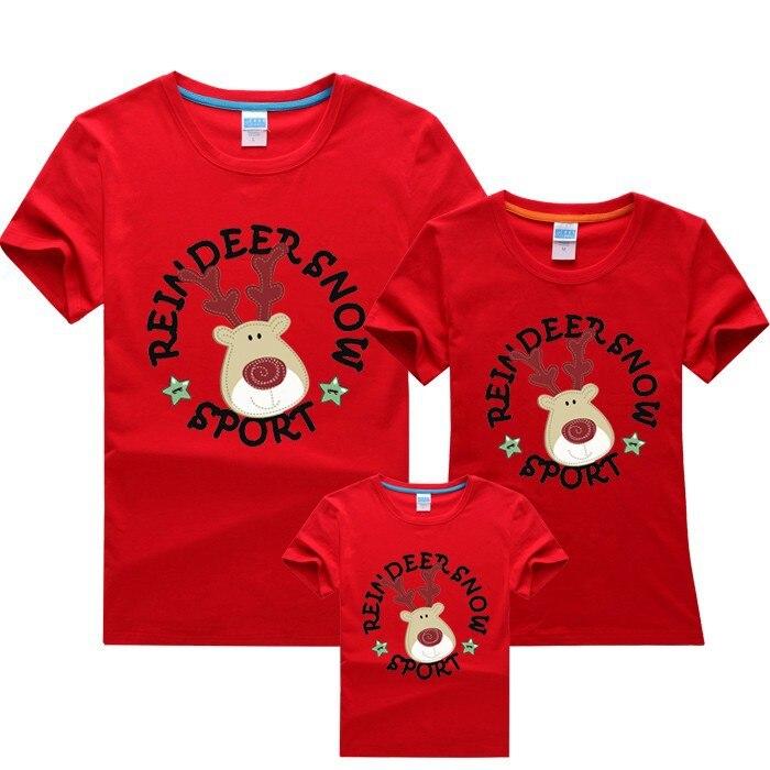 Parent Child Christmas Short Sleeved T shirt Sweet ...