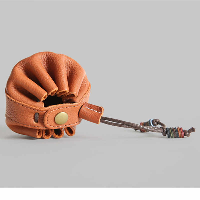 Couro genuíno bolsa de Moedas de 2019 Unisex Mini Cordão de Couro Dos Homens Do Couro Carteira Pequena Bolsa de Moedas Saco de Armazenamento Corda Atacado