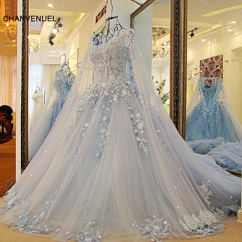 LS23990 new arrival evening dress women 2018 blue tulle ball gown luxury beaded appliqued formal evening gowns dresses with cape