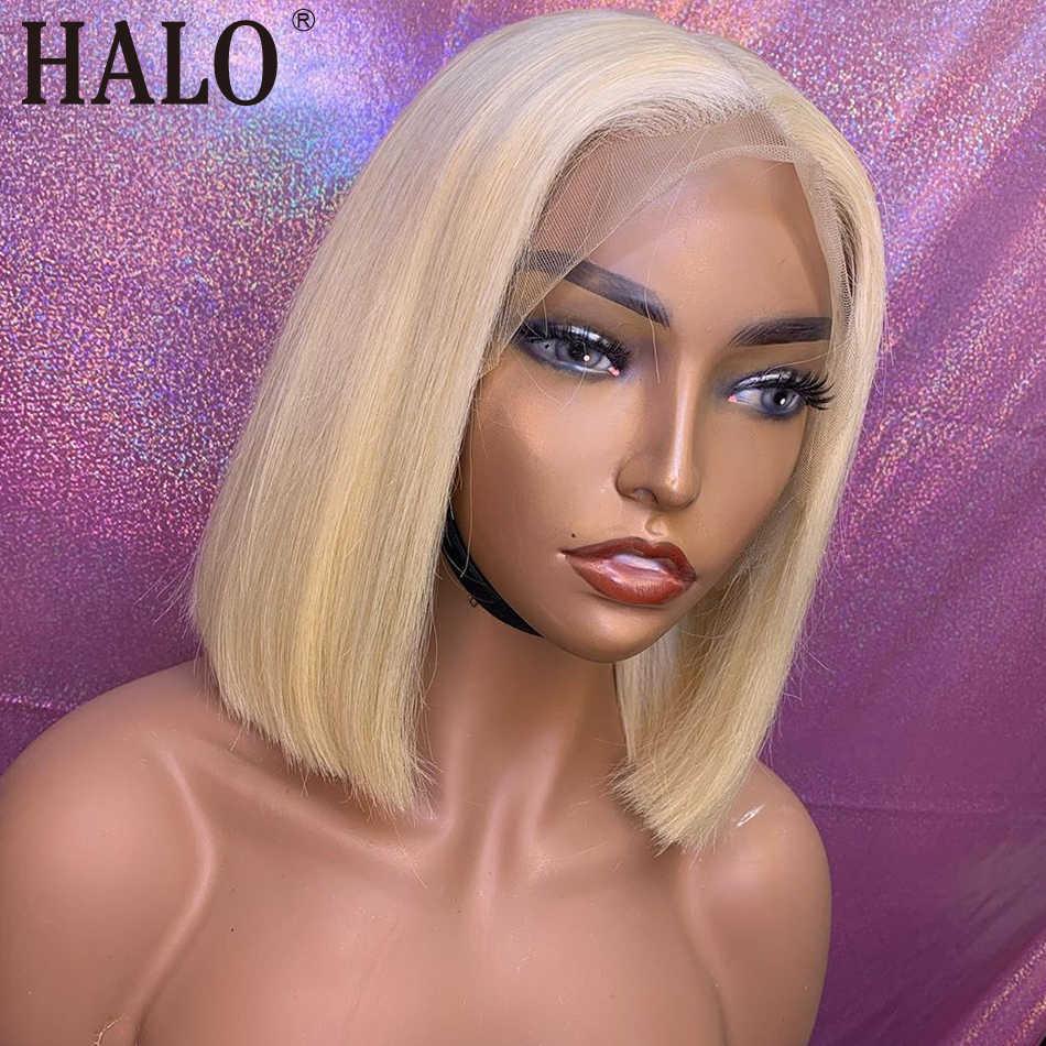 613 miód blond 13x4 koronki przodu włosów ludzkich peruka naturalne prosto 100% brazylijski ludzki włos krótki Bob koronki przodu peruka 150% Remy
