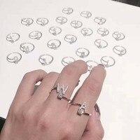 Fashion Thư nhẫn Alfabet Ban Đầu vòng điều chỉnh 925 stelring bạc Nữ Trang Sức A B C D E F G H I K L M N O P Q R S T V Y