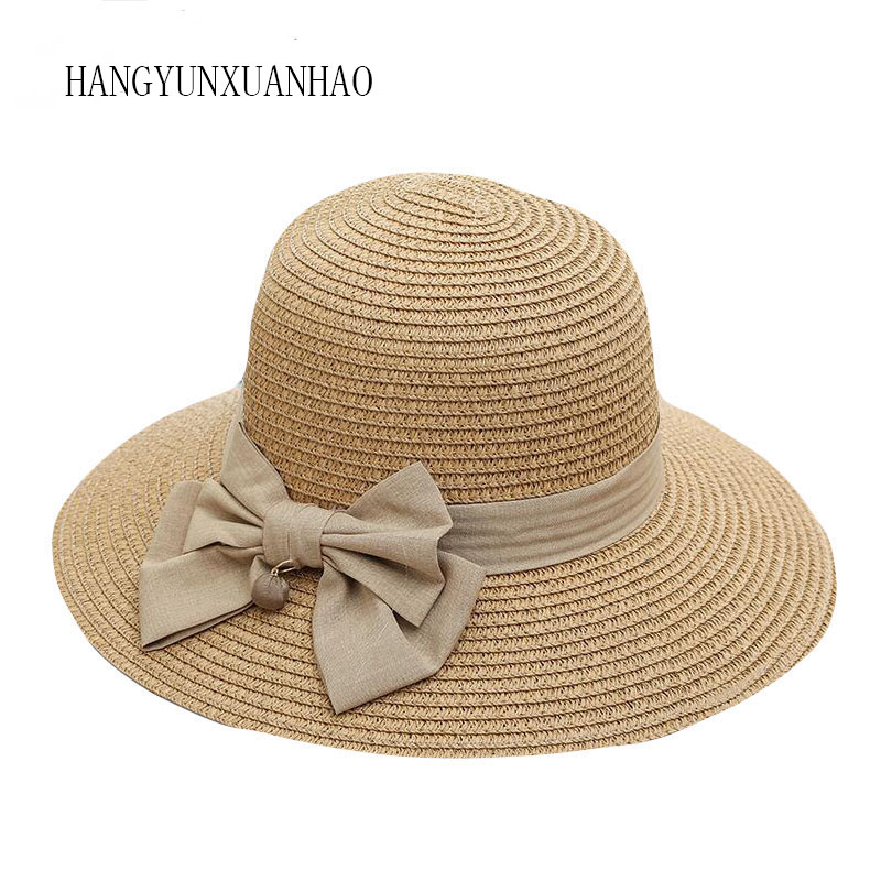 Stylish Fashion Women Foldable Wide Large Brim Beach Sun Caps Floppy Straw Hat Sweet Butterfly Summer Tour Hats for Women image