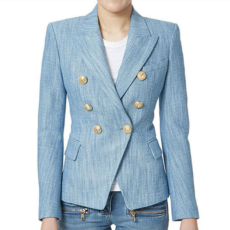 Newest 2017 Designer Blazer Women's Long Sleeve Double Breasted Metal Lion Buttons Blazer Jacket Outer