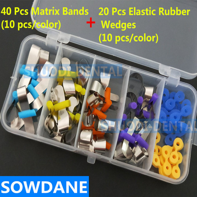 1 set Dental Metal Matrix Matrices Bands Retainerless & Elastic Rubber Fixing Wedges Filling Wedge