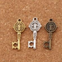 3Colors Saint Benedict Medal Cross Key Religious Charm Beads 300pcs 9.4x24mm Pendants Alloy Handmade Jewelry DIY L1687