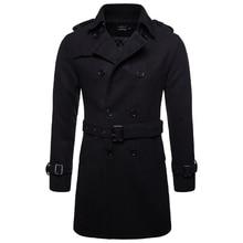 Длинное шерстяное пальто в европейском и американском стиле, мужская осенне-зимняя двубортная ветровка, Мужская брендовая куртка, американские размеры XXL