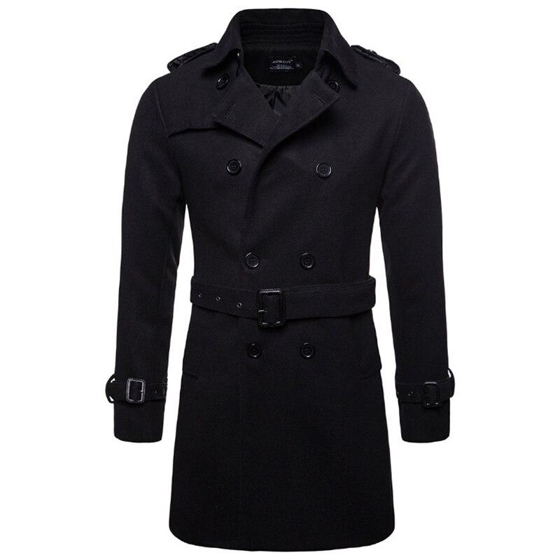 Europe and America Long Wool & Blends Coat Men Autumn Winter Double Breasted Windbreaker Jacket Men Brand Pea Coat US Size XXL