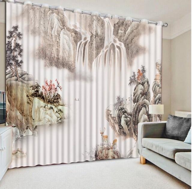 3d gordijnen woonkamer home decor decoratie Inkt schilderen vintage ...