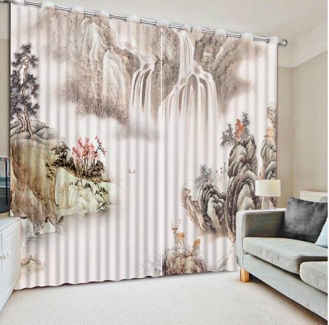 3d Vorhänge Für Wohnzimmer Wohnkultur Dekoration Tinte Malerei Vintage  Fenster Vorhänge Home Und Dekor