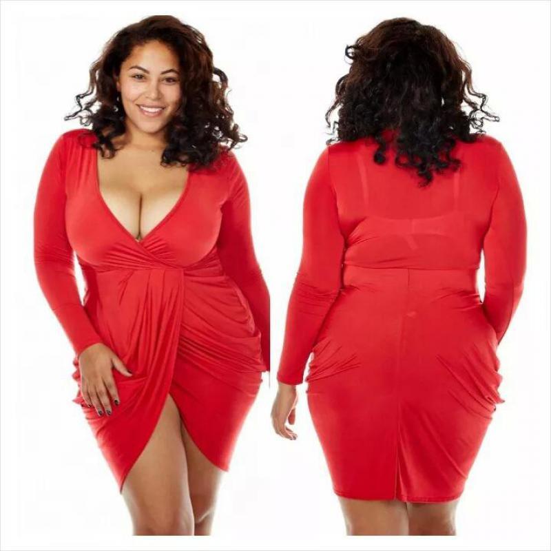 Long Sleeve Dress Women Plus Size Clothing Sexy V Neck Slim Wrap Mini Dresses Autumn -9168