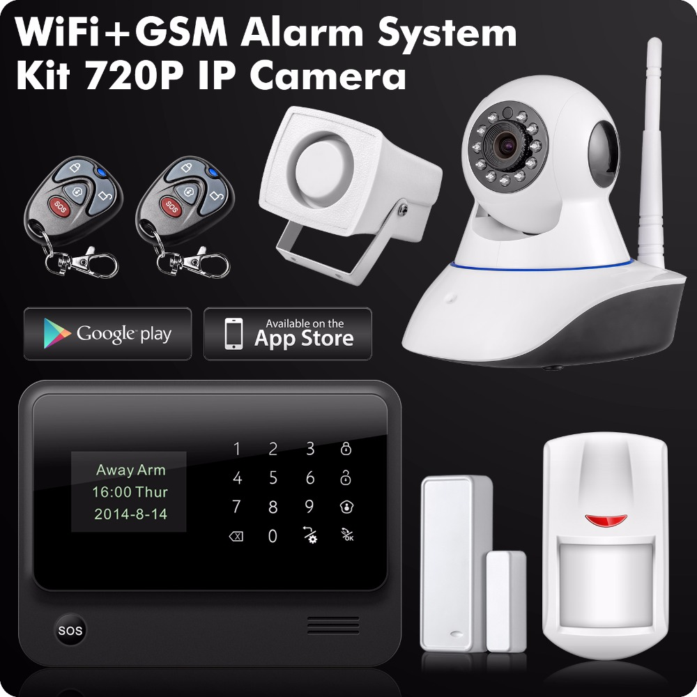 2.4G WiFi GSM SMS GPRS Home Burglar Alarm Security System Control Kit 720P HD IP Camera Door Open Reminder цена и фото