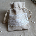 "Cotton Linen Lace Gift Bags  Jewelry Pouch 8x10cm(3""x4"") Baby Shower Birthday Party Wedding Favor Holders"