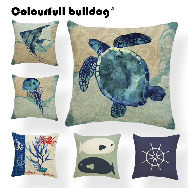 Ocean Anchor Cushion Cover Geometry Pillows Biological Chakra Garden Decor Home Sea Horse Throw Pillow Large Cotton Blend Funny