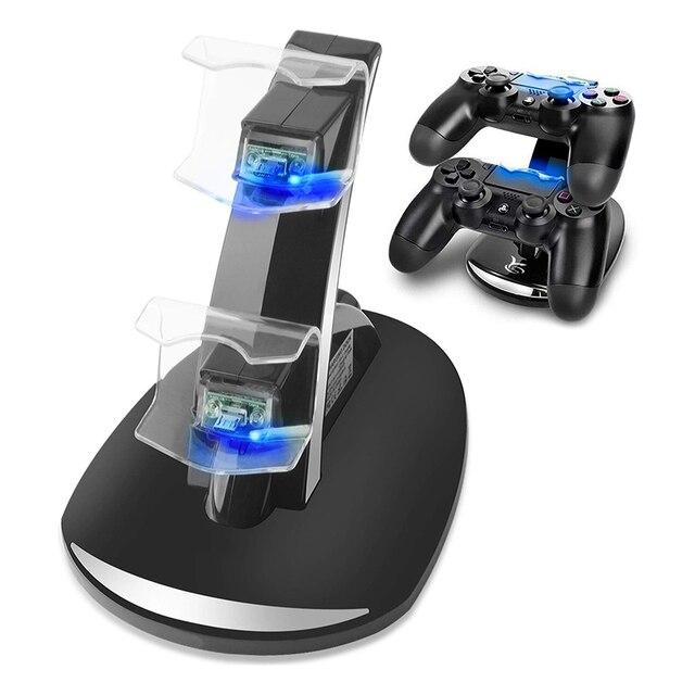 Cargador de control Dual estación de base de carga para Sony PlayStation 4 PS4 PS 4 Game Gaming consola de control inalámbrico