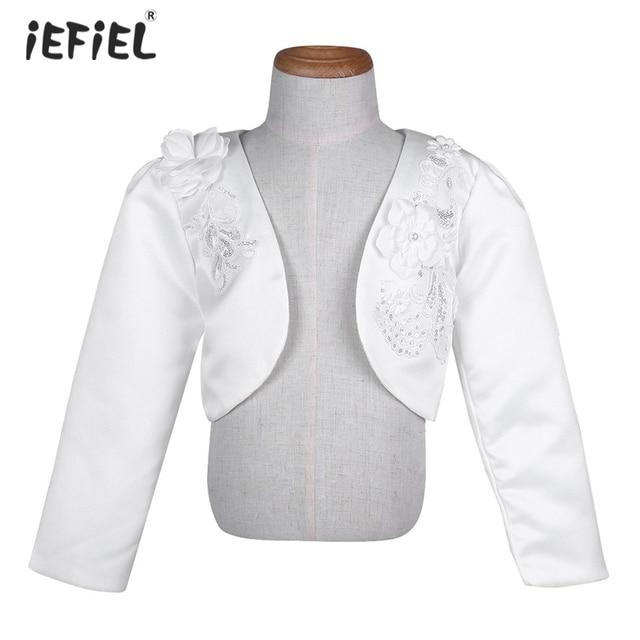 New White Kids Girls 3d Flower Long Sleeves Bolero Jacket Shrug