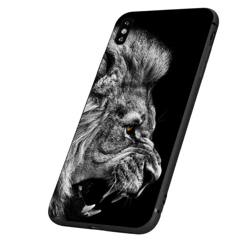أسود tpu حالة ل iphone 5 5s se 6 6s 7 8 زائد x 10 سيليكون غطاء ل فون XR XS 11 برو ماكس حالة الأسد النمر الأزياء الحيوان