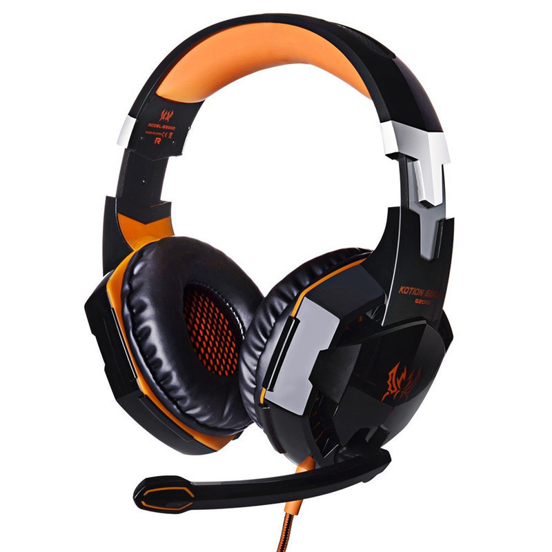 EACH <font><b>G2000</b></font> Anti-noise Dazzle Lights Stereo Gaming Headset For PC Gamer ecouteur Glow Headphones With MIC <font><b>USB</b></font>+3.5mm Audio Cable image