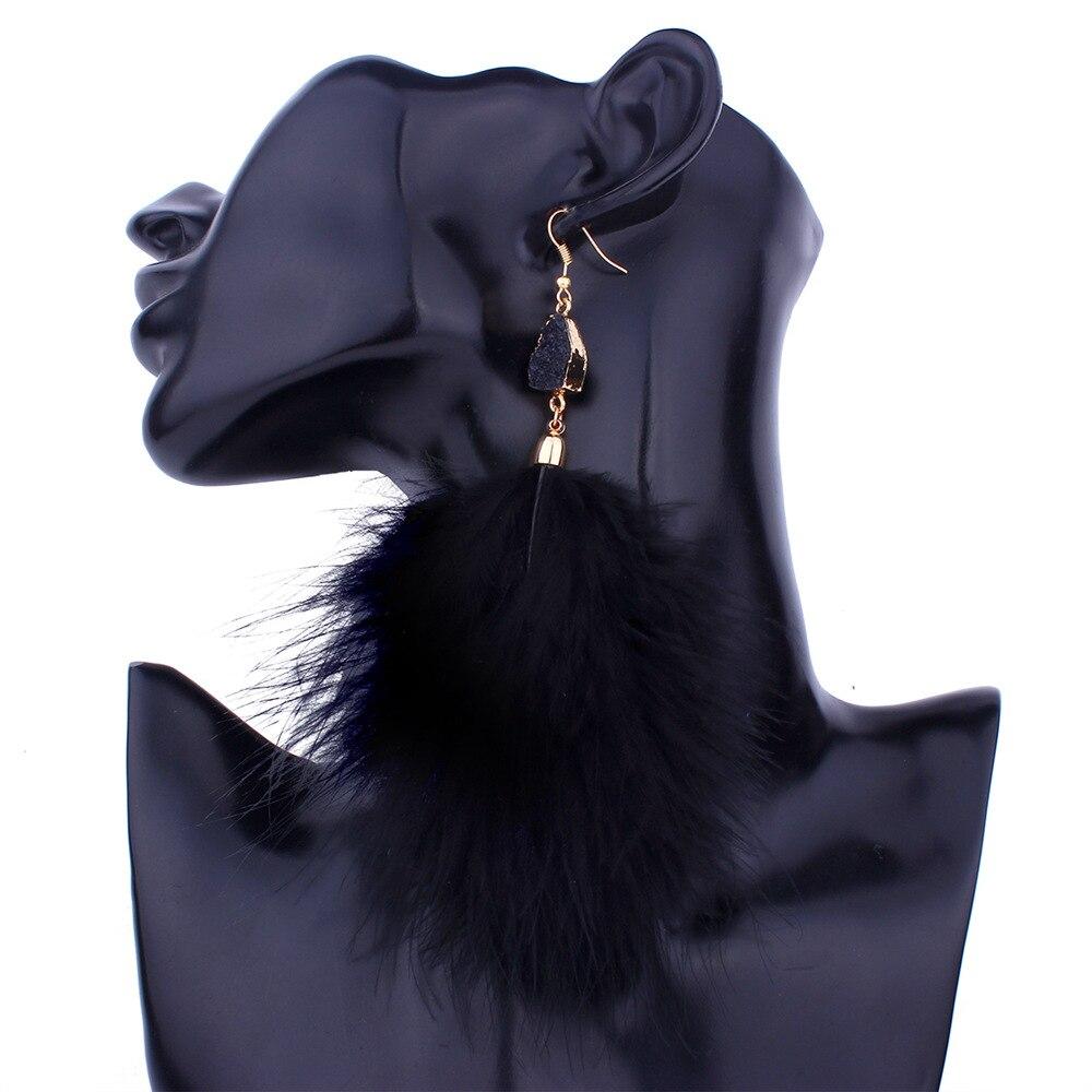 HOCOLE Bohemia Fluffy Feather Tassel Earrings For Women Black White Pink Long Fur Drop Earrings Wedding Statement Jewelry Brinco in Drop Earrings from Jewelry Accessories
