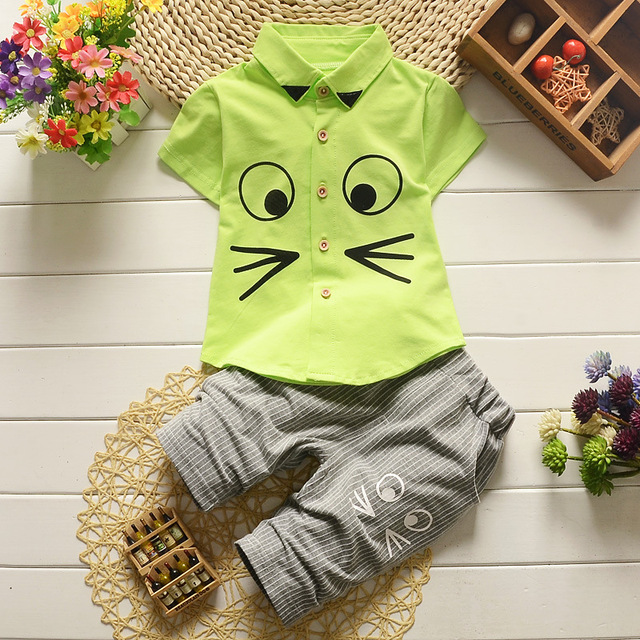 Children Baby Boys Clothes Sets Summer Kid'S Clothing Boys Cotton Suits Short-Sleeved Shirt + Pants Suit Fashion Clothing