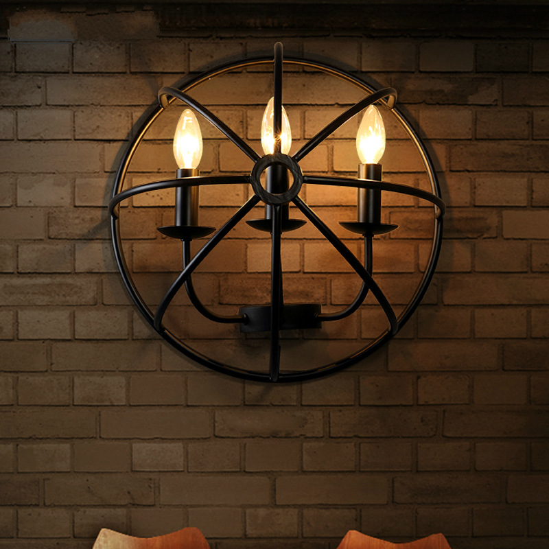 Nordic retro industrial style creative wall lamps semi-circular iron art cafe bar restaurant clothing store lampsNordic retro industrial style creative wall lamps semi-circular iron art cafe bar restaurant clothing store lamps