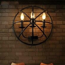 Lámparas de pared creativas de estilo industrial retro nórdico, lámparas semicirculares de arte del hierro para cafetería, bar, restaurante, tienda de ropa
