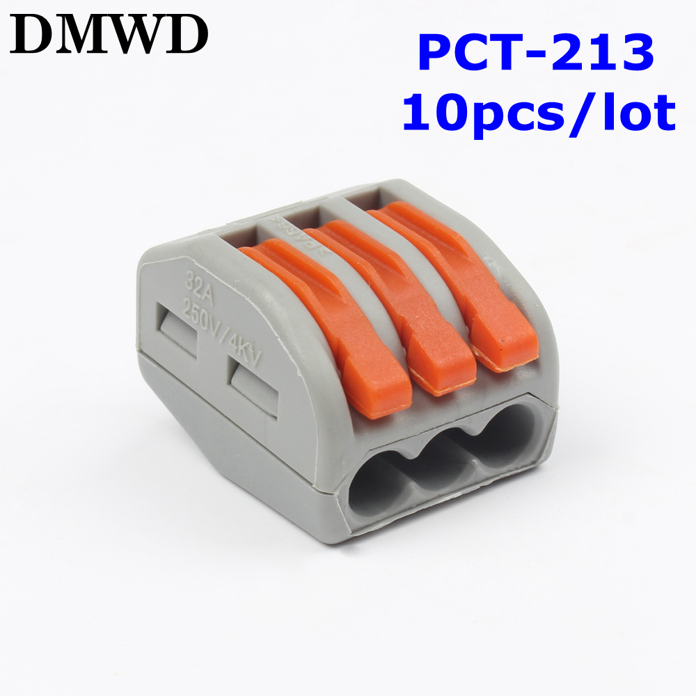 Free shipping 10Pcs/lot PCT-213 3 Pin Universal compact wire wiring connector conductor terminal block with lever conector new 10 pieces lot 222 413 universal compact wire wiring connector 3 pin conductor terminal block with lever awg 28 12