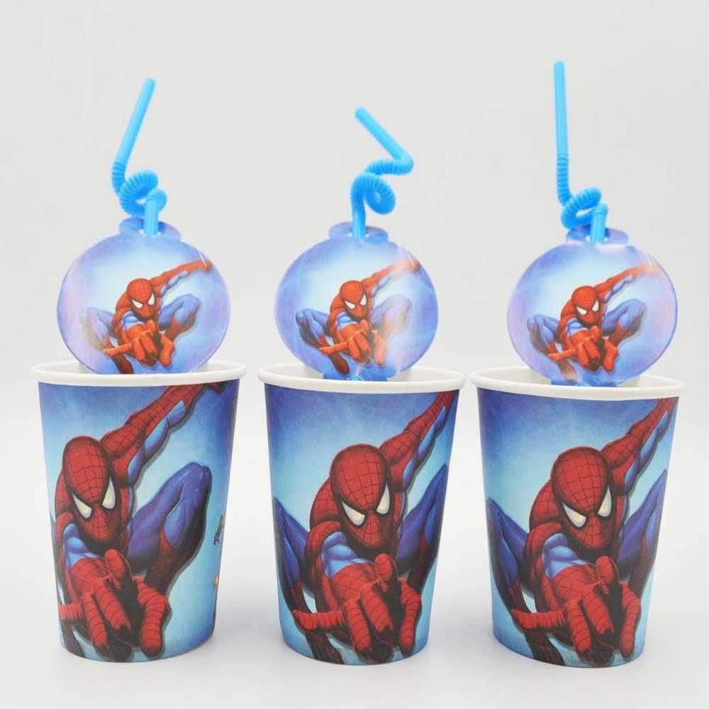 20 Buah/Set Spiderman Sedotan/Cup Anak Ulang Tahun Dekorasi Festival Perlengkapan Pesta untuk Anak Laki-laki Gadis Kartun Spiderman