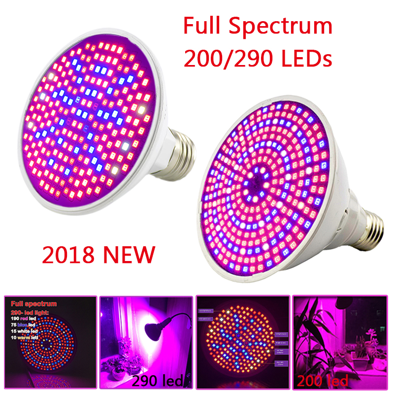 290 Led Plant Grow Light E27 200 LED Growing lights Bulb Full Spectrum Indoor Plant Lamp for Plants Vegs Hydroponic System 290 led plant grow light e27 200 led growing lights bulb full spectrum indoor plant lamp for plants vegs hydroponic system