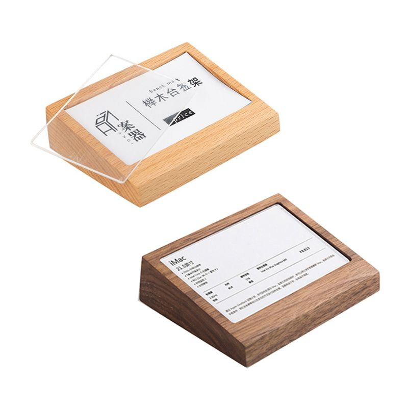 7.5x10cm Name Card Display Acrylic Panel Wooden Table Menu Sign Holder Stand Price Paper Tags Label Rack F42D