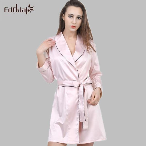 2016 New Fashion Spring Summer Silk Night Gown Bathrobe Sexy Homewear For Women Bathrobe Dressing Gown Home Clothes E0253