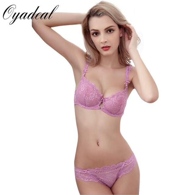 09b372e5a8d3 Oyadeal Women Lace Bra sets Top Brief Brassiere Sexy Lingerie Underwear No  sponge transparent Ultra-