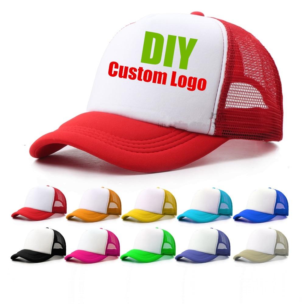 1 Piece Custom Logo Mesh Hats Men's Trucker Hat Cheap Adult Adjustable Polyester   Baseball     Caps   Women Snapback Hat Free Design
