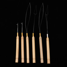 6Pcs/Set Wooden Hair Extensions Loop Needle Threader Wire Pulling Hook Tool for Beads(China)