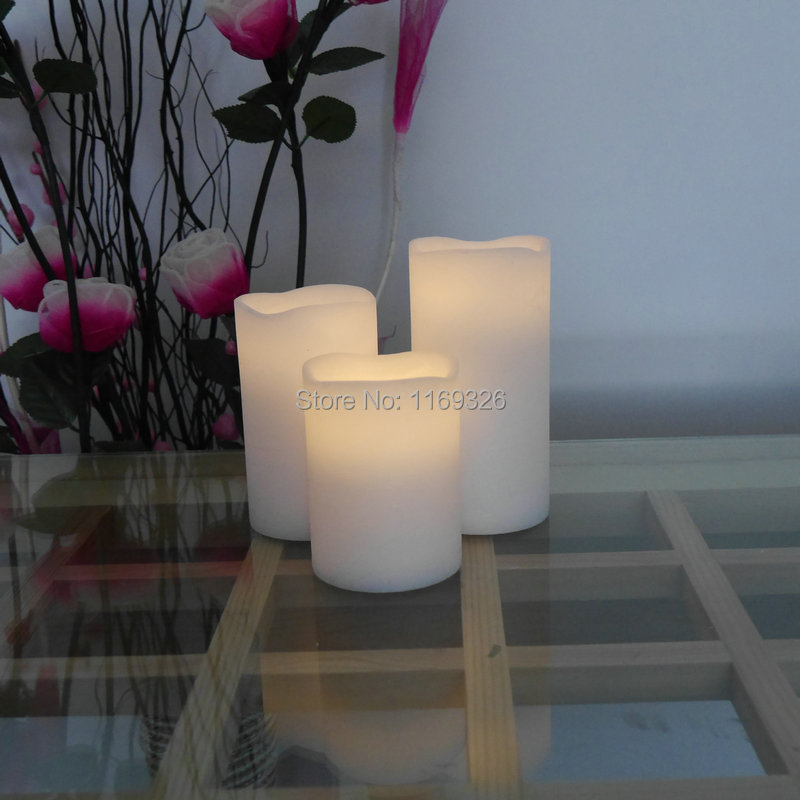 Warm White Led Flameless Candle Light Wax Pillar Candles Battery Operated Scented Home Decor