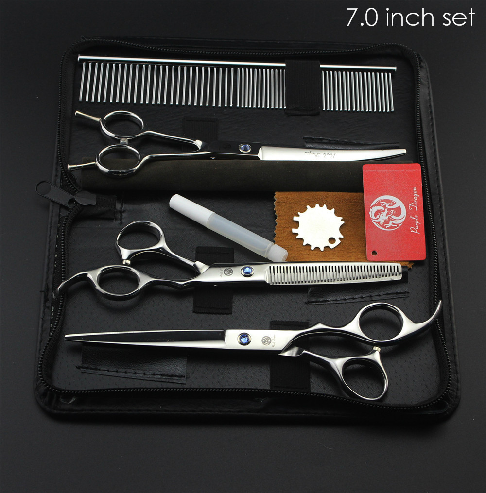 "Purple Dragon Professional Pet Grooming Scissors Set 7"" 8"" Straight+Thinning+Curved Scissors Cat Dog Shears Hair Cutting Tools 4"