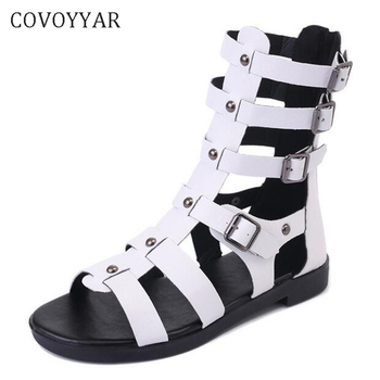 COVOYYAR 2018 Women Gladiator Sandals Flat Buckle Open Toe Casual Summer Woman Shoes Lady Boots Black White Plus Size WSS341