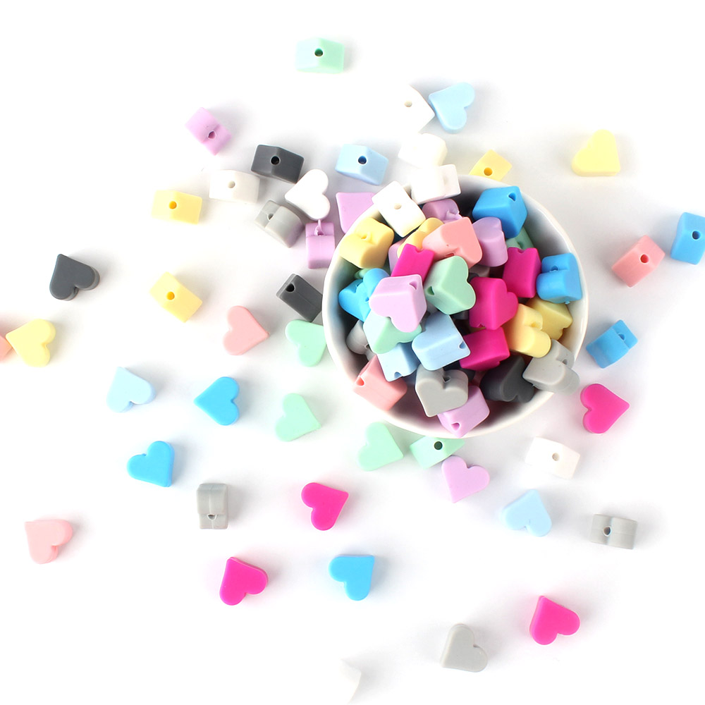 50/150/500 Pcs Silicone Heart Beads Food Grade Baby Chewable Teething Beads For Nursing Necklace DIY Jewelry Making Accessories