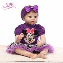 NPK 55 centímetros bebes reborn boneca menina boneca completa para a menina Brinquedos bebês reborn boneca de presente de aniversário brinquedos para crianças plamates
