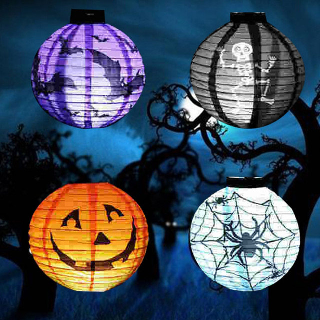 set of 7 halloween lanterns led halloween decoration pumpkin witch ghost skeleton spider bat paper hanging