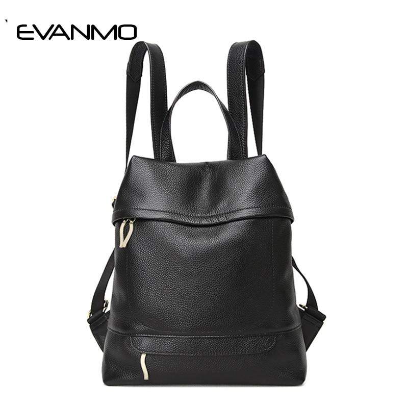 Fashion Women's Genuine Leather Backpack Vintage Backpacks for Teenage Girls Casual Bags Female Shoulder Bags Women Travel Bag