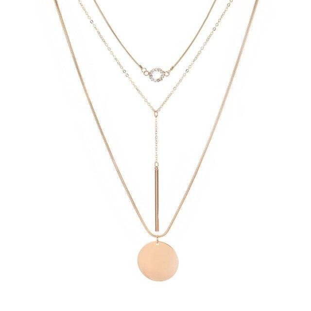 JAVRICK Women Trendy Necklace Multi Layers Thin Chain Dangle Round Pendant Fashion Gifts