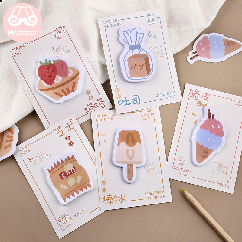 Mr Paper 30pcs/lot 8 Designs Kawaii Ice Cream Snack Memo Pads Sticky Notes Notepad Diary Creative Self-Stick Notes Memo Pads