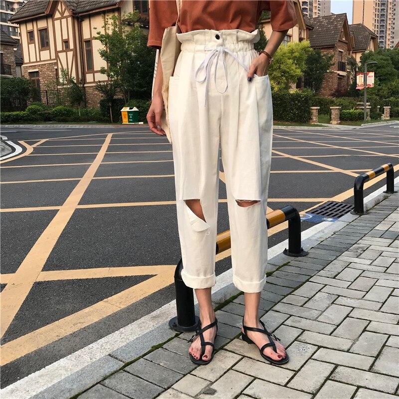 Fashion Ripped Holes Wide Leg Pants Women Summer High Waist Trousers Streetwear Casual Pants Capris Female