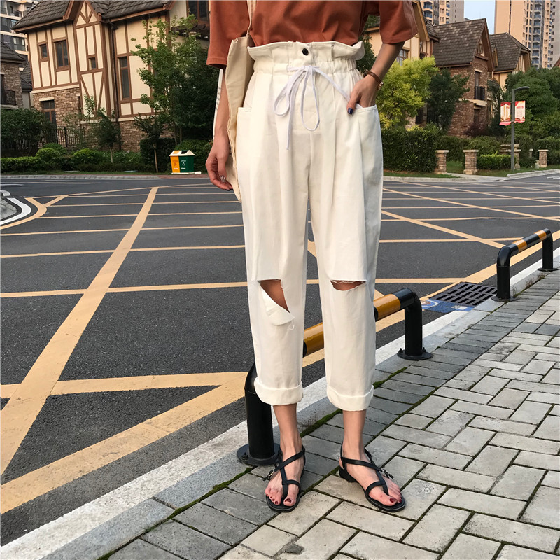 Fashion Ripped Holes Wide Leg   Pants   Women Summer High Waist Trousers Streetwear Casual   Pants     Capris   Female